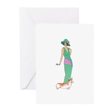 lady with corgi.jpg Greeting Cards (Pk of 10)