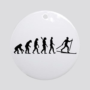 Evolution Cross country skiing Ornament (Round)