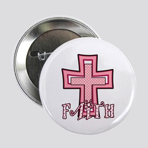 "Cute Pink Polka Dot Faith Cross 2.25"" Button"