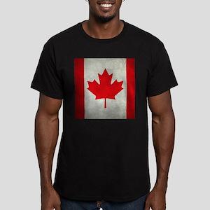 Grunge Canada flag Men's Fitted T-Shirt (dark)