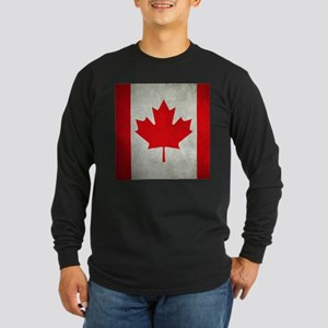 Grunge Canada flag Long Sleeve Dark T-Shirt