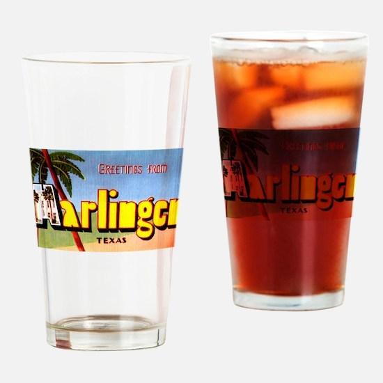 Harlingen Texas Greetings Drinking Glass