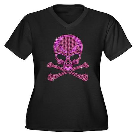 Pink Rhinestone Skull and Crossbones Plus Size T-S