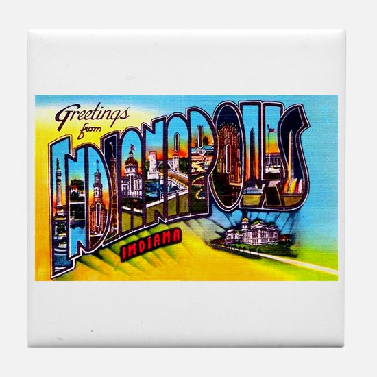 Indianapolis Indiana Greetings Tile Coaster
