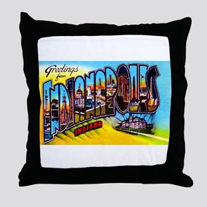 Indianapolis Indiana Greetings Throw Pillow