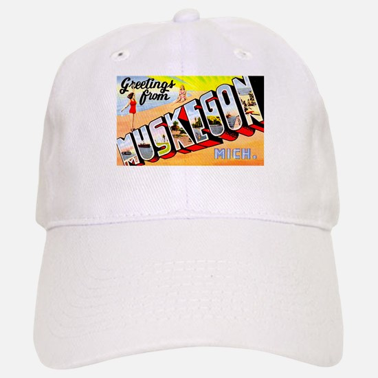 Muskegon Michigan Greetings Baseball Baseball Cap