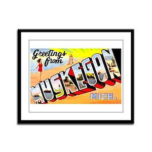 Muskegon Michigan Greetings Framed Panel Print