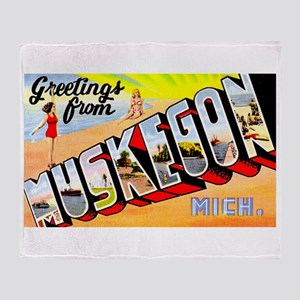 Muskegon Michigan Greetings Throw Blanket