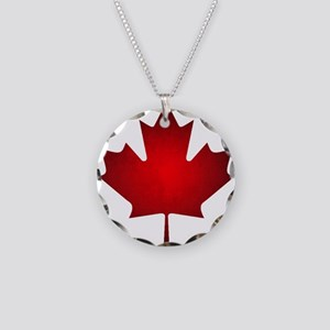 Maple Leaf Grunge Necklace Circle Charm