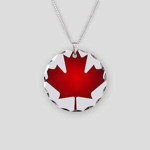 Maple Leaf Grunge Necklace Circle Charm