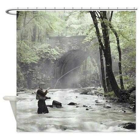 Fly Fisherman in Misty Stream Shower Curtain