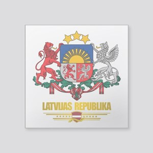 "Latvia COA (Flag 10)2 Square Sticker 3"" x 3"""