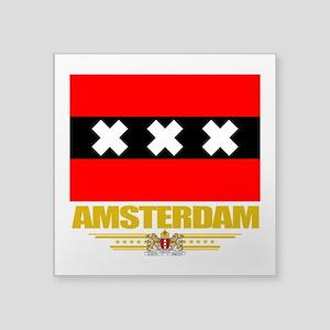 "Amsterdam (Flag 10) Square Sticker 3"" x 3"""