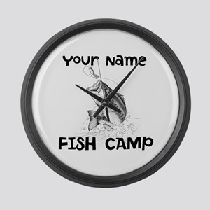 Personlize Fish Camp Large Wall Clock