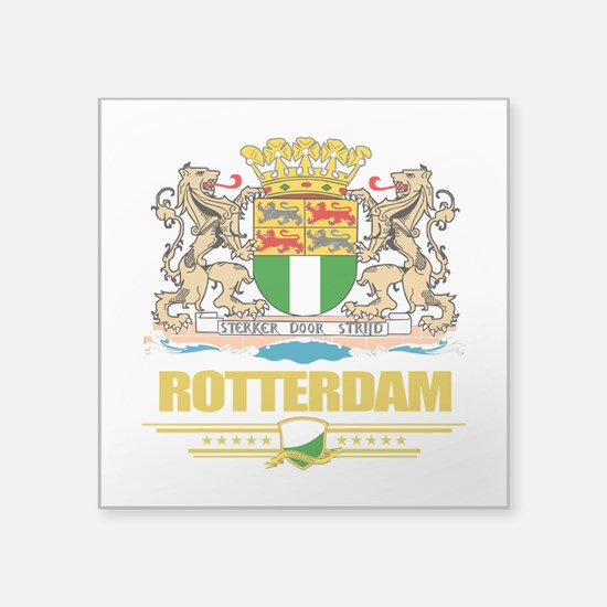 "Rotterdam (Flag 10).png Square Sticker 3"" x 3"""