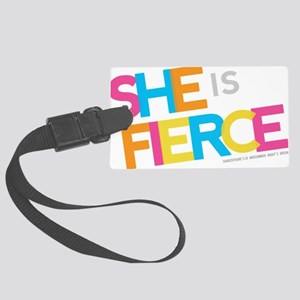 She is Fierce - Color Merge Large Luggage Tag