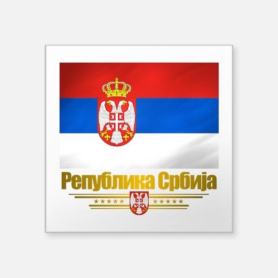 "Serbia (Flag 10).png Square Sticker 3"" x 3"""