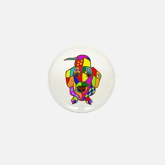 Pretty Colored Doxie Mini Button