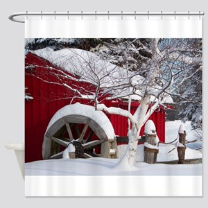 Snow Covered Wheelmill Shower Curtain