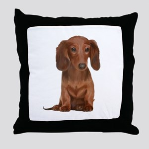 Painted Long Haired Red Throw Pillow