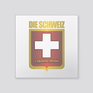 "Swiss Gold Square Sticker 3"" x 3"""