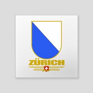 """Zurich (Flag 10) Square Sticker 3"""" x 3"""""""