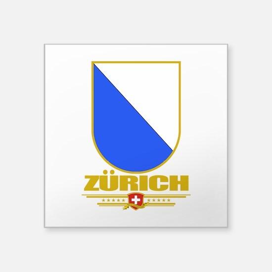 """Zurich (Flag 10).png Square Sticker 3"""" x 3"""""""