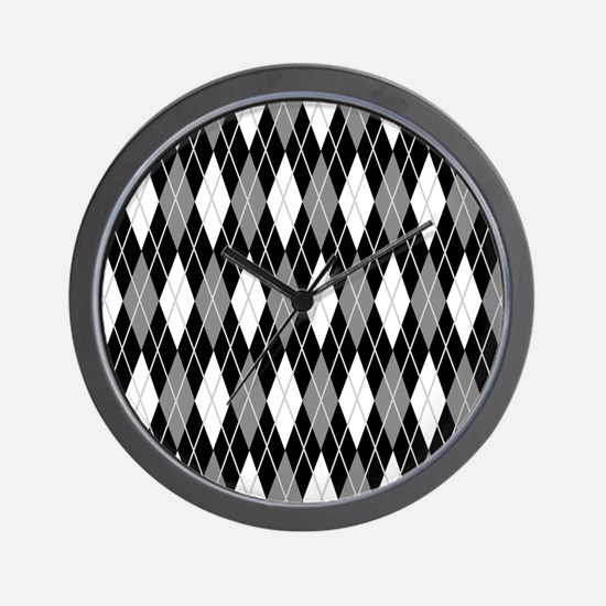 Black Gray Argyle Wall Clock