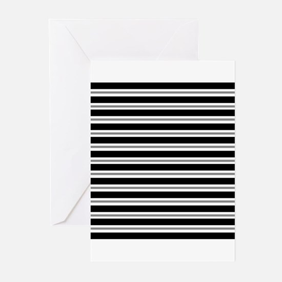 Black Gray Stripes Greeting Cards (Pk of 20)