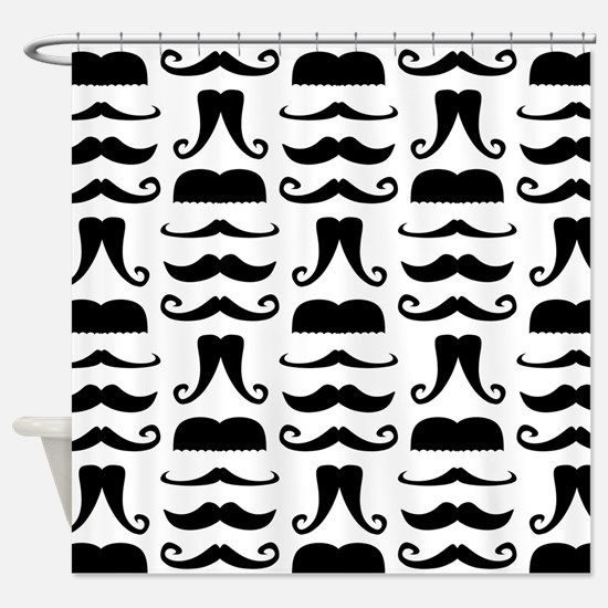 Mustache Print Shower Curtain