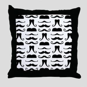 Mustache Print Throw Pillow