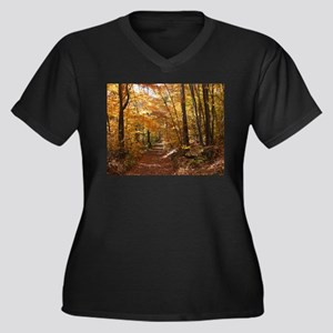 Autumn Trails Women's Plus Size V-Neck Dark T-Shir