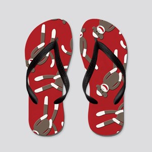 Red Sock Monkey Print Flip Flops