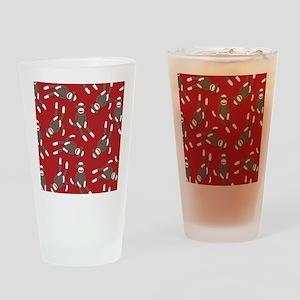 Red Sock Monkey Print Drinking Glass