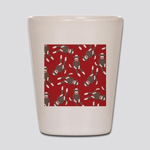 Red Sock Monkey Print Shot Glass