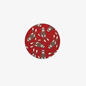 Red Sock Monkey Print Mini Button