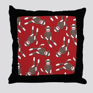 Red Sock Monkey Print Throw Pillow