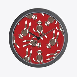 Red Sock Monkey Print Wall Clock
