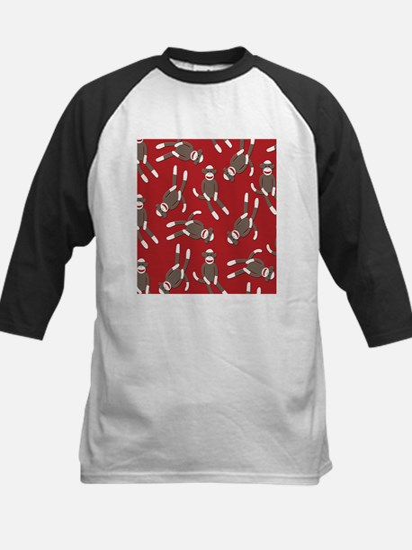 Red Sock Monkey Print Kids Baseball Jersey