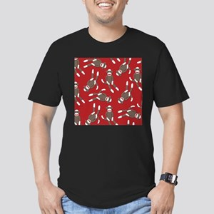 Red Sock Monkey Print Men's Fitted T-Shirt (dark)