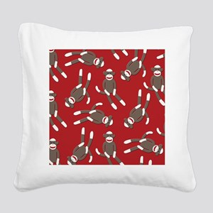 Red Sock Monkey Print Square Canvas Pillow