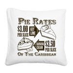 Pie Rates of the Caribbean Square Canvas Pillow