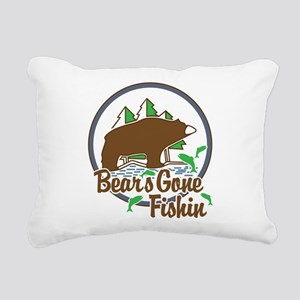 Bear's Gone Fishn' Rectangular Canvas Pillow