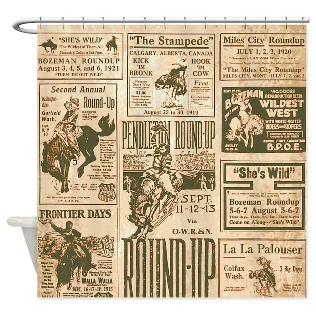 Vintage Rodeo Round-Up Shower Curtain by retroranger