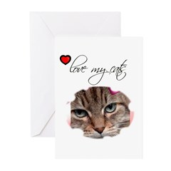 I LOVE MY CATS Greeting Cards (Pk of 10)