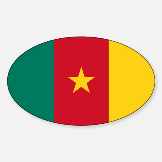 Flag of cameroon sticker oval