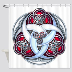 Celtic Triple Crescents - Red Shower Curtain