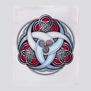 Celtic Triple Crescents - Red Throw Blanket