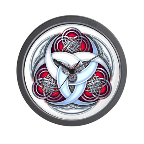 Celtic Triple Crescents - Red Wall Clock
