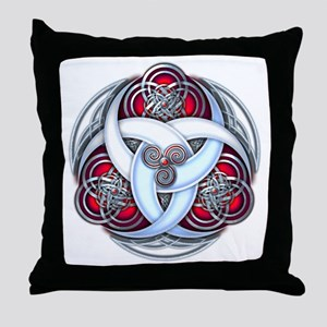Celtic Triple Crescents - Red Throw Pillow